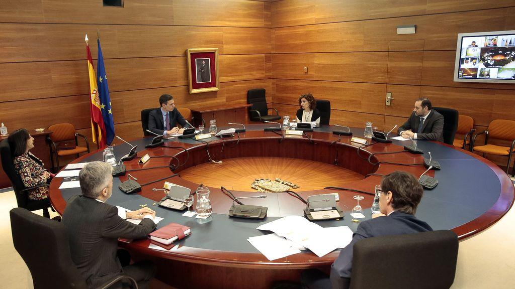 Imagen del Consejo de ministros celebrado por vía telemática