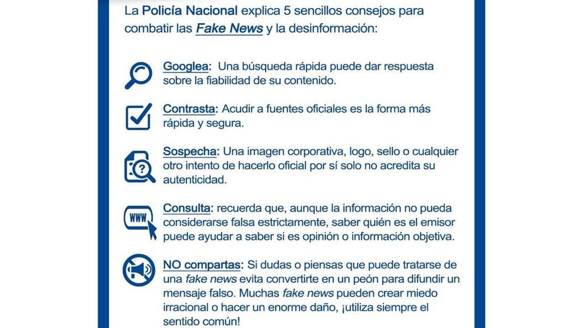"""La Policía crea una guía contra las fake news: """"La responsabilidad en la difusión de mensajes falsos es de todos"""""""