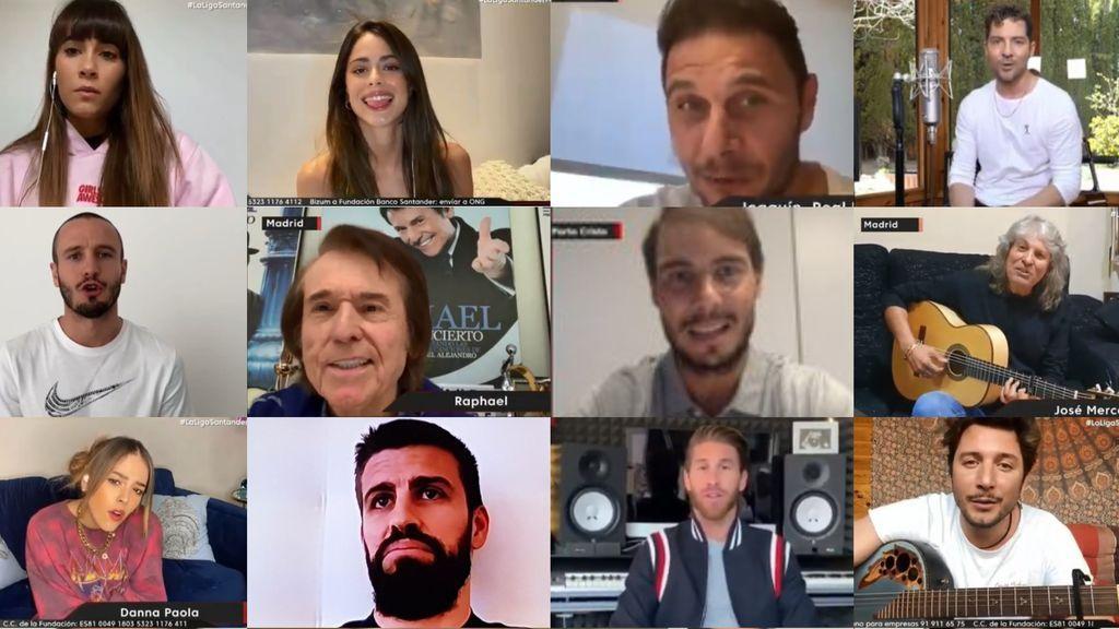 Cantantes y futbolistas que han participado en el concierto