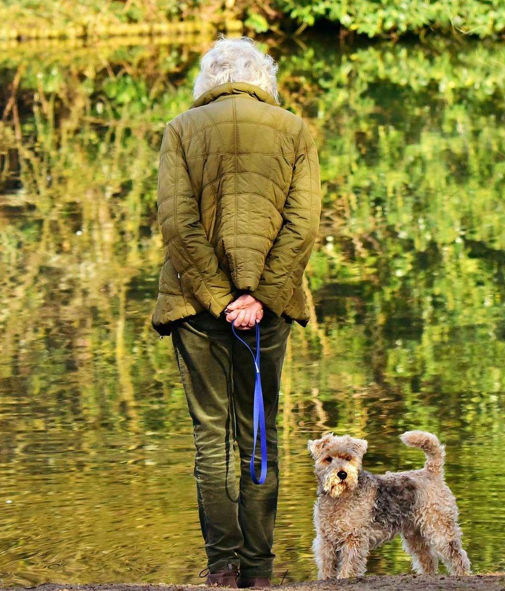 Señora mayor saca a su perro a pasear