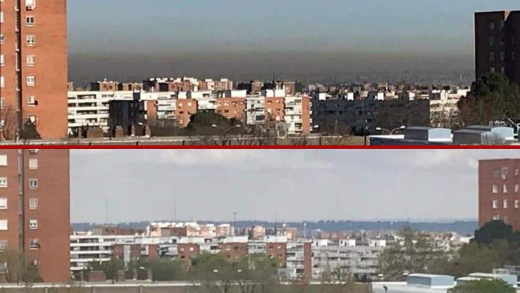El cielo de Madrid antes y después del confinamiento por coronavirus