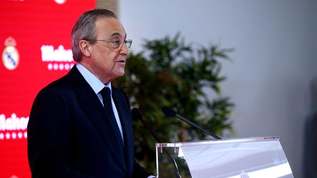 Florentino Pérez durante una rueda de prensa del Real Madrid