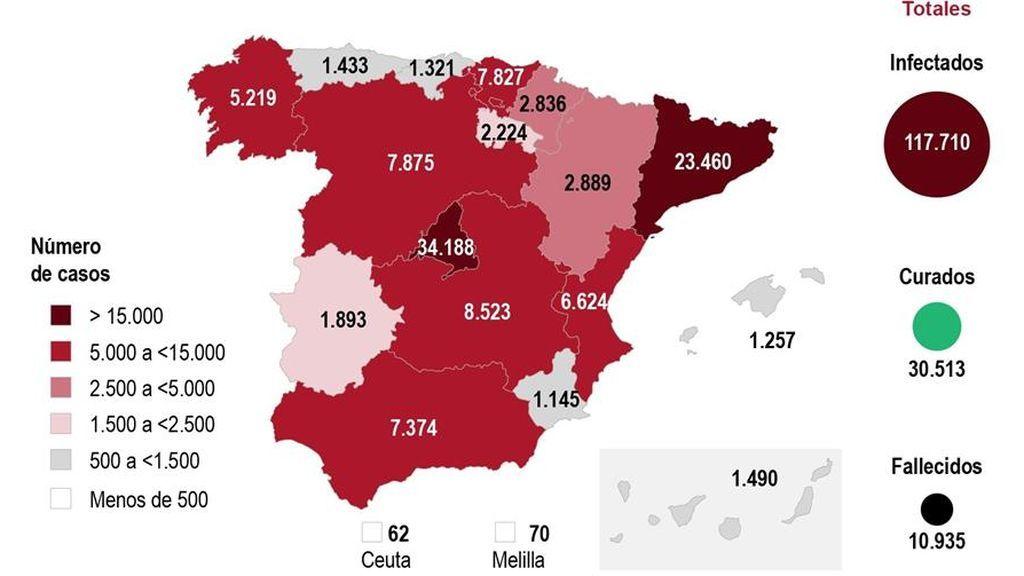 El mapa del coronavirus en España el 3 de abril: más contagiados que Italia y 932 fallecidos