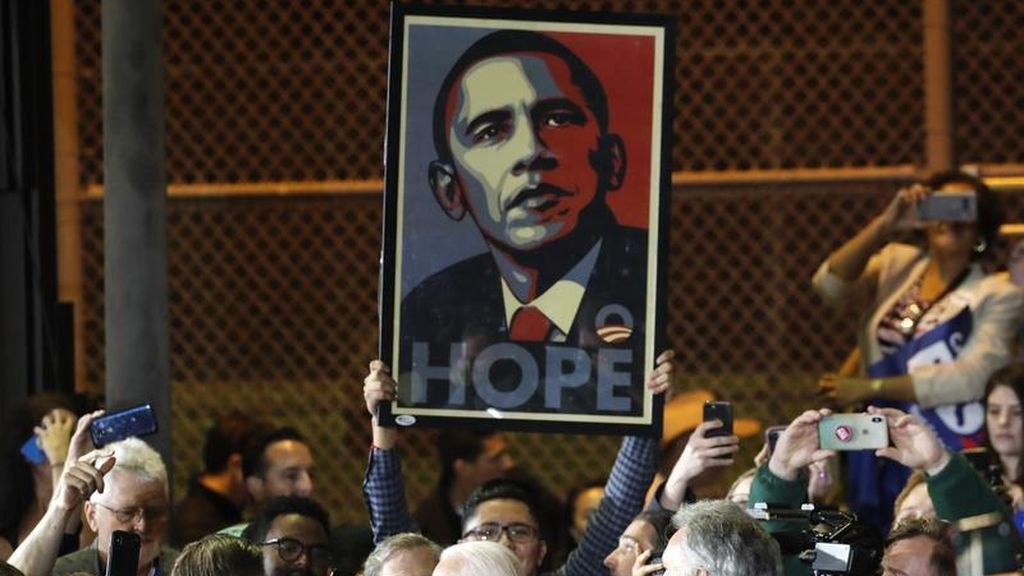 Manifestación en favor de Obama el 4 de marzo de 2020