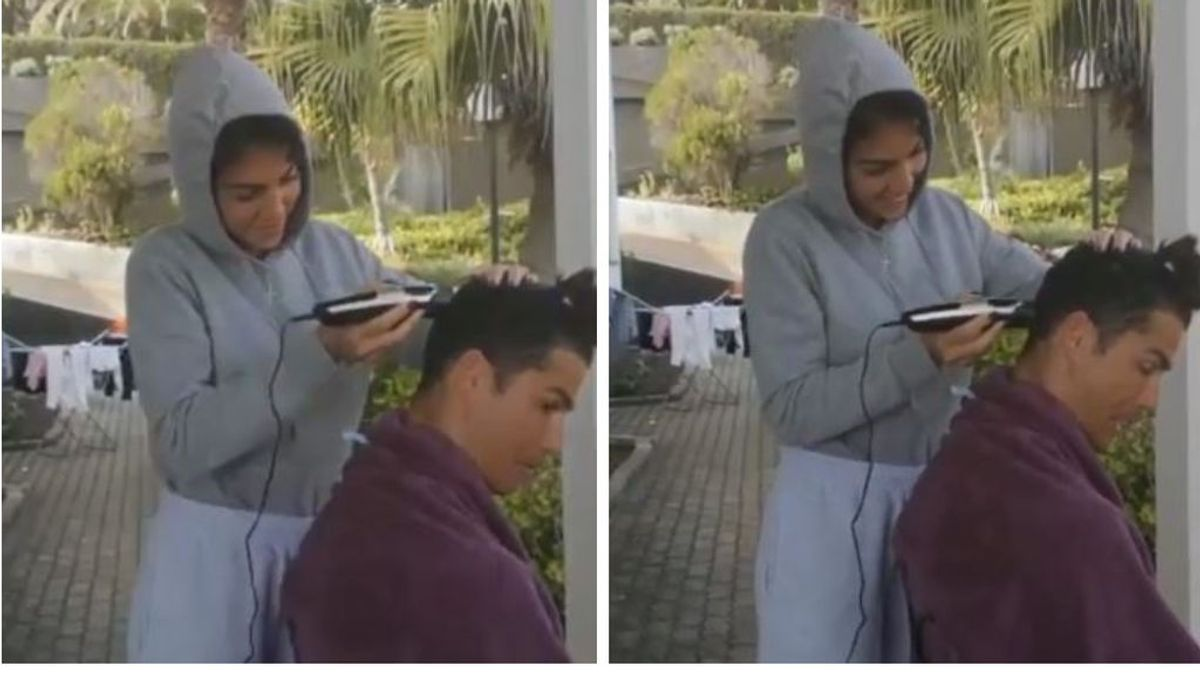 """Georgina Rodríguez le corta a Cristiano Ronaldo el pelo en casa: """"No lo pienses y déjate llevar"""""""