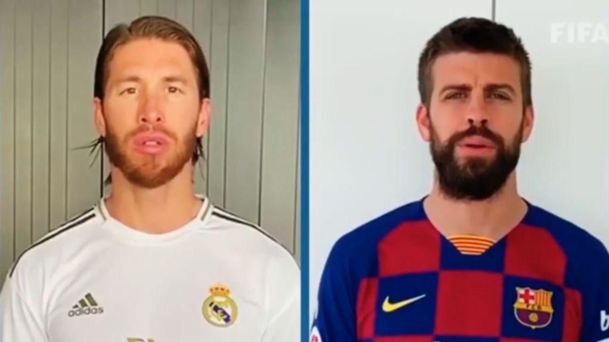 Ramos y Piqué unidos en una campaña de la FIFA para estar activos en casa