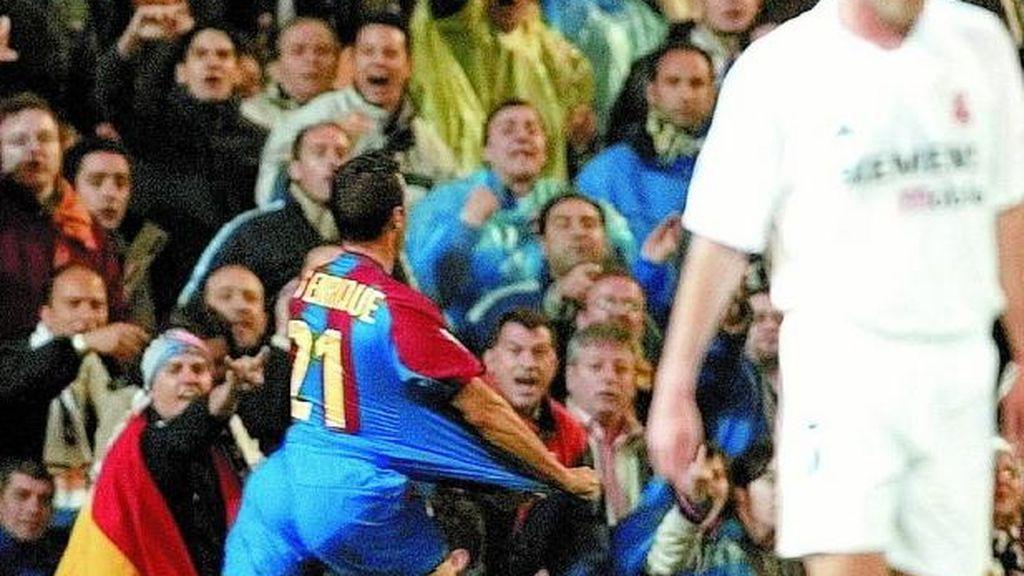 Luis Enrique celebrando un gol con el FC Barcelona ante su antiguo equipo el Real Madrid
