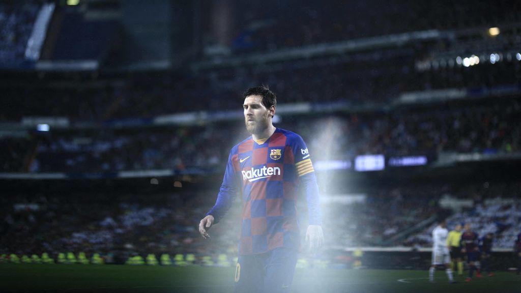 Leo Messi durante un partido de fútbol con la camiseta del barça