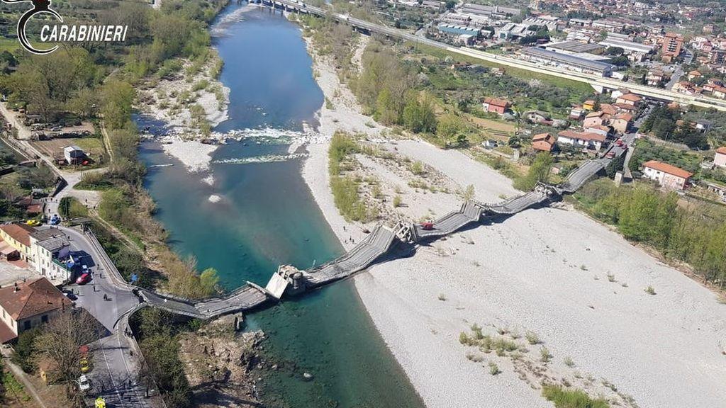 Un derrumbe de un puente sobre un río en la Toscana se salda sin víctimas por la cuarentena