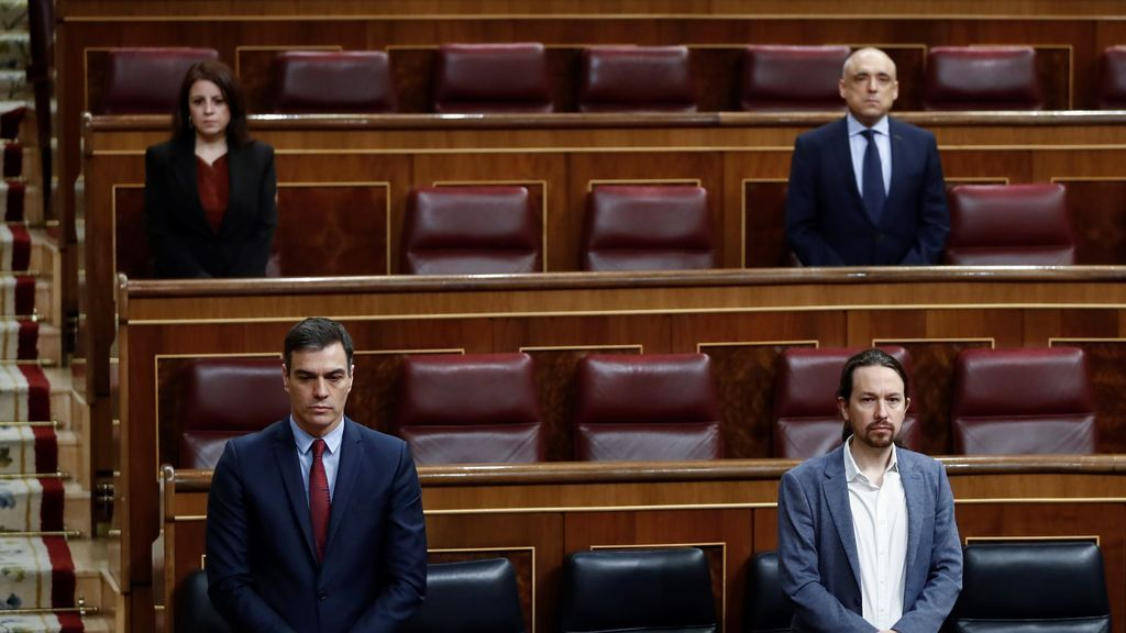Sanchez e Iglesias en el pleno de la segunda prorroga del estado de alarma