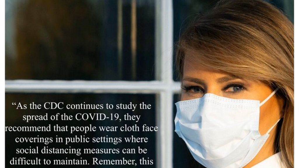 Melania Trump publica una foto con mascarilla para instar a los estadounidenses a su uso frente al coronavirus