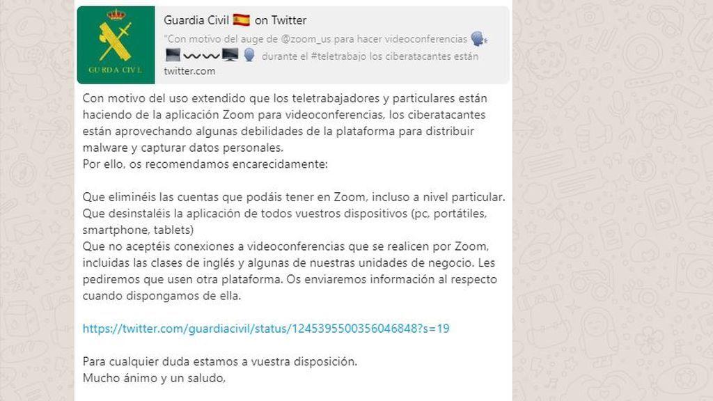Guardia Civil aclara el bulo sobre desinstalar Zoom por ataques informáticos