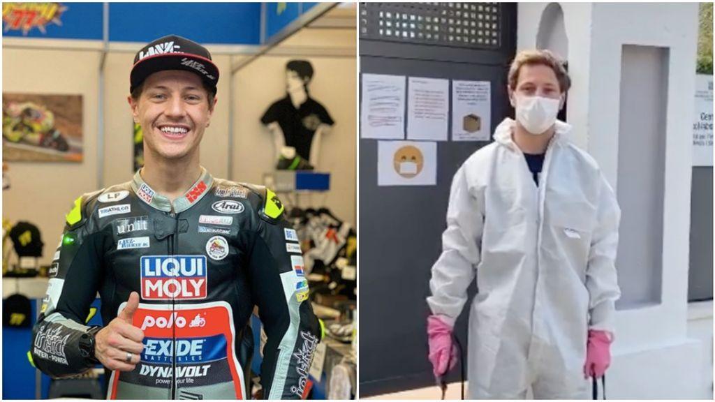 """Aegerter, el piloto de MotoGP, ayuda desinfectando una residencia de ancianos en Barcelona: """"Ahora me toca a mí"""""""