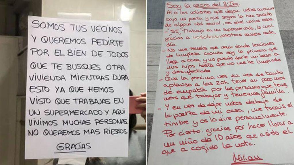 Una empleada de supermercado recibe una nota de un vecino para que se vaya del edificio