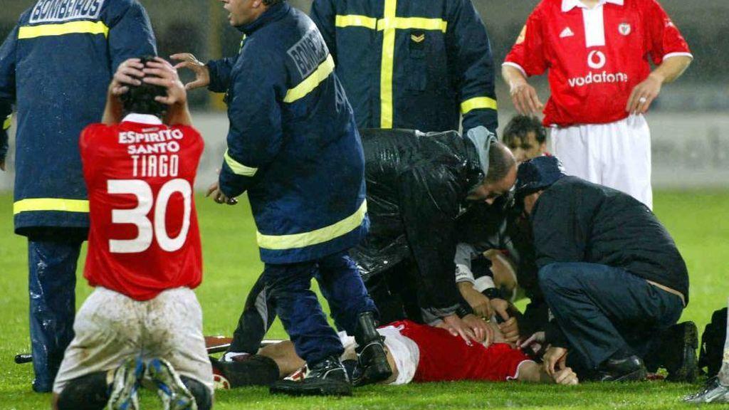 Feher durante el partido en el que sufrió un infarto