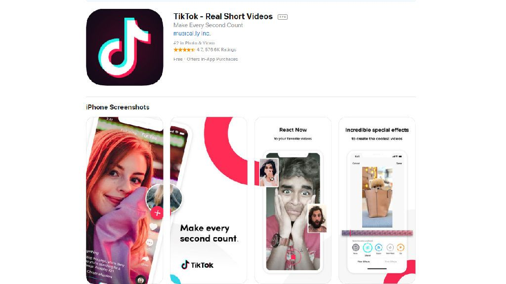 La red social TitTok en la App Store.