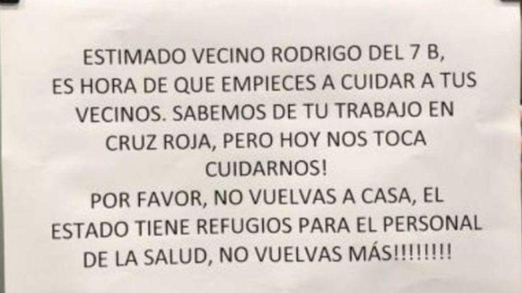 La nota de los vecinos a Rodrigo, un miembro de la Cruz Roja