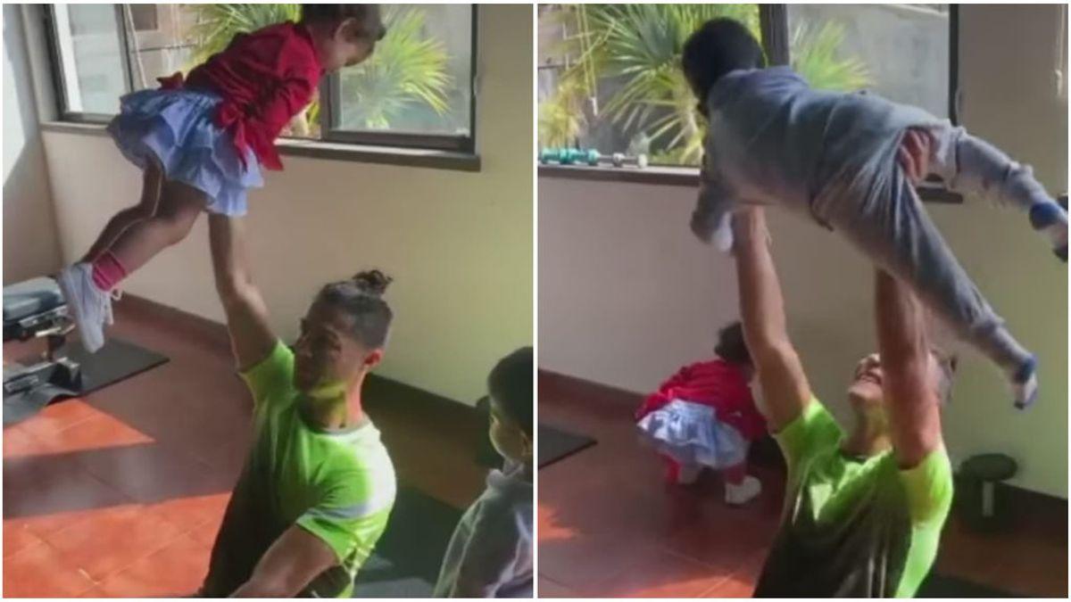 Cristiano hace su entrenamiento más familiar en el gimnasio: Alana y Mateo se divierten haciendo de pesas