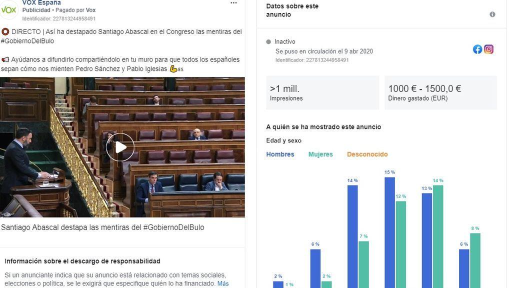 Vox critica la censura de Facebook mientras paga para viralizar allí su discurso contra Sánchez