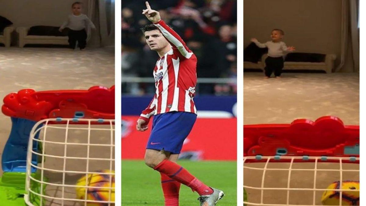 """Morata y Alice Campello presumen de la calidad con el balón de su hijo: """"Concéntrate que tienes que meterla dentro"""""""