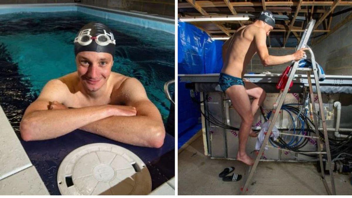 """Un nadador olímpico se construye una piscina profesional en el garaje: """"Es como nadar contra la corriente en un río"""""""