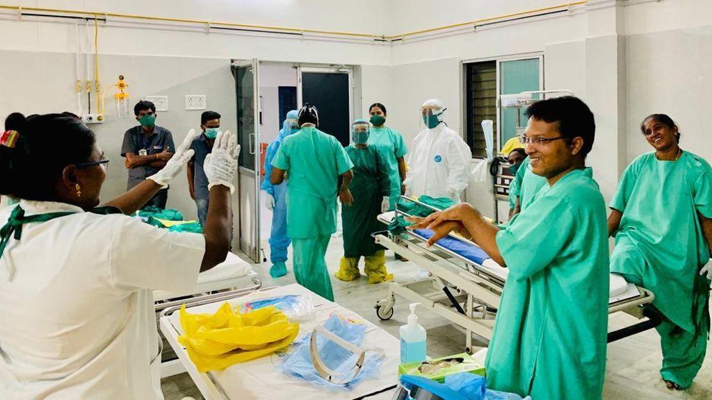 El hospital de la Fundación Vicente Ferrer, ahora centro de tratamiento del covid-19