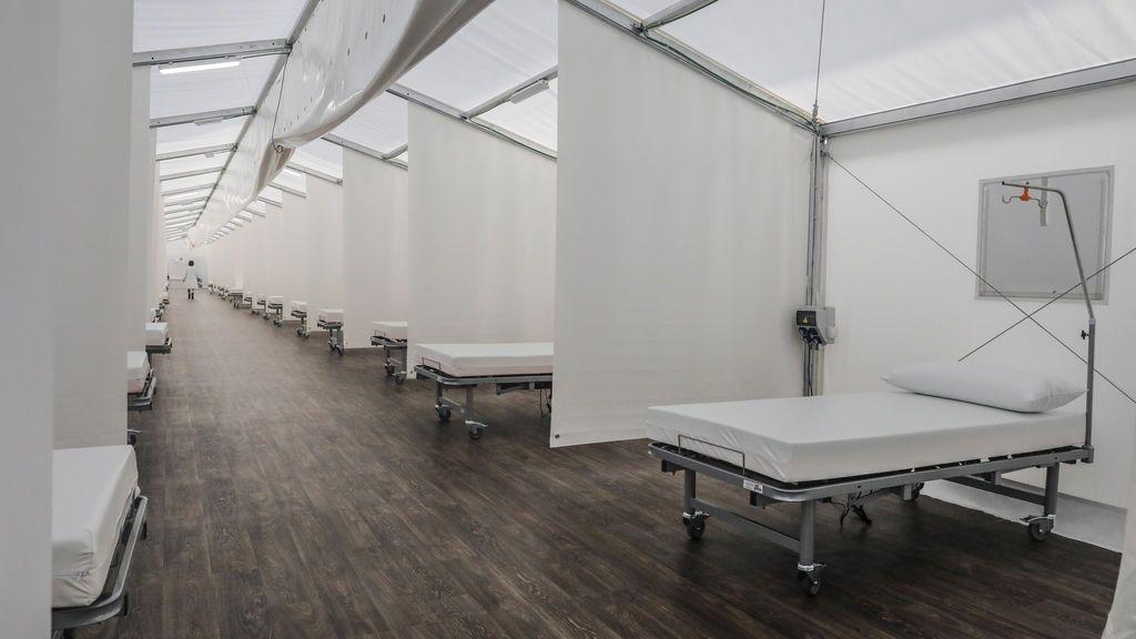Instalaciones del 'hospital de campaña' construido junto al Hospital La Fe en Valencia,