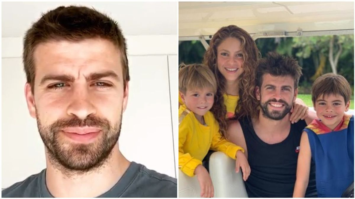 Piqué, junto a Shakira y sus hijos.