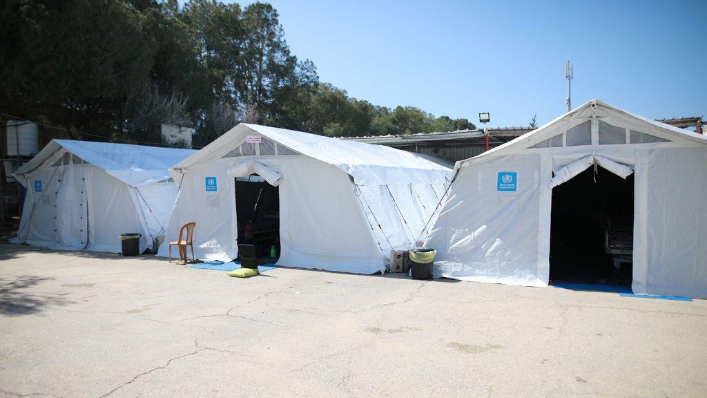 Habitaciones de triage cercanas la hospital de campaña de Rafah, Gaza