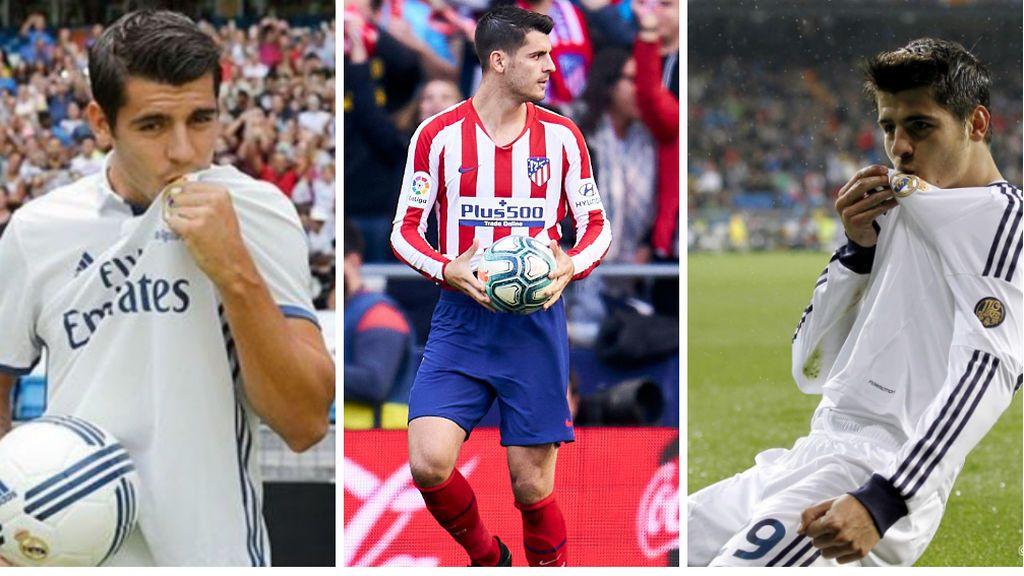 Morata besándose el escudo del Real Madrid