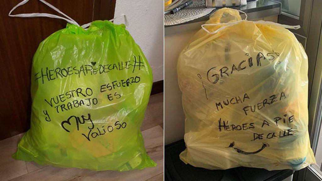Mensajes en bolsas de basura para agradecer su labor durante el coronavirus
