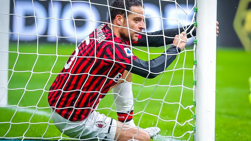Jugador del Milan en un partido