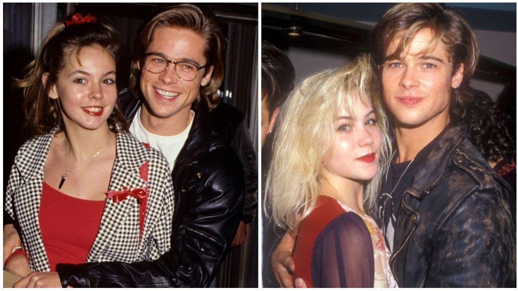 Brad Pitt y Shalane McCall, a la izquierda, y Brad Pitt y Christina Applegate, a la derecha de la imagen.