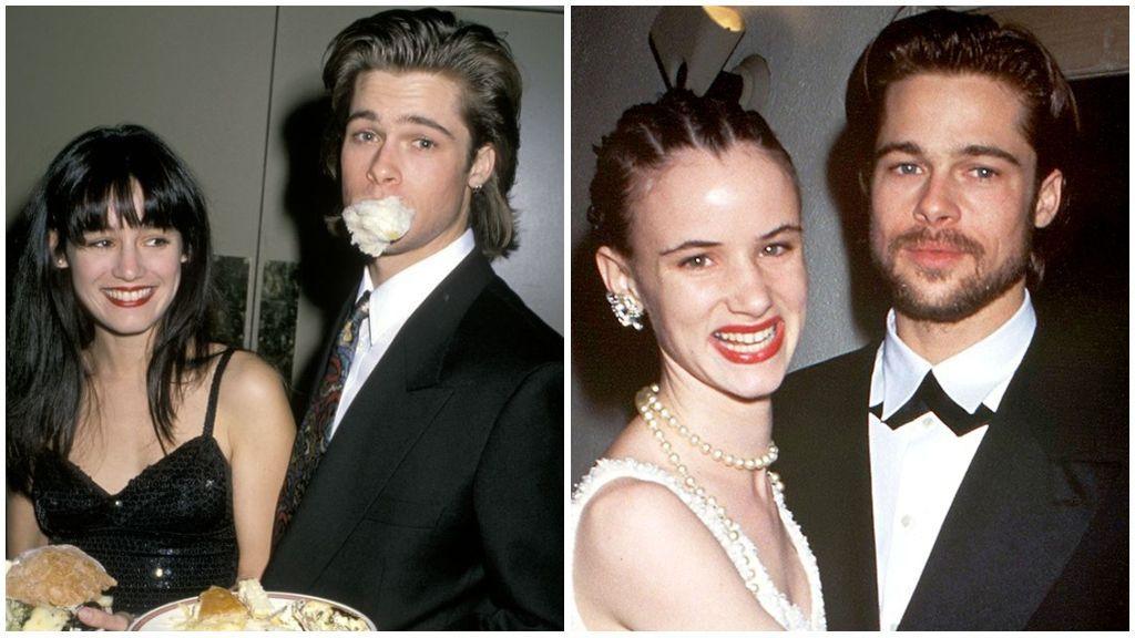 Brad Pitt y Jill Schoelen, a la izquierda, y Brad Pitt y Juliette Lewis, a la derecha de la imagen.