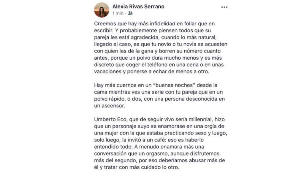 Tuit de Alexia Rivas sobre la infidelidad