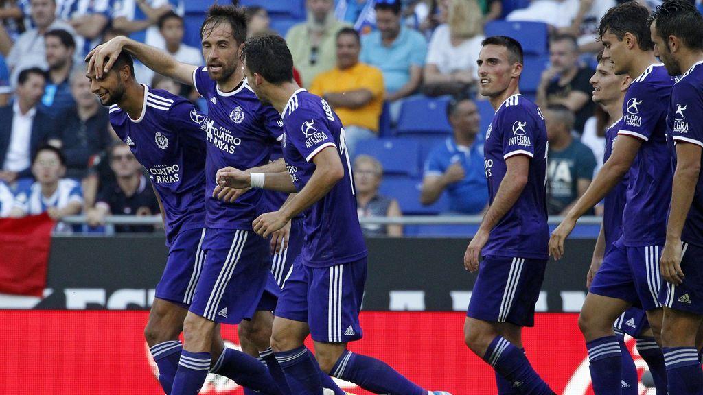 La plantilla del Real Valladolid celebrando un gol durante un partido de primera División
