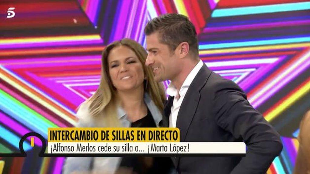 Marta López y Alfonso Merlos, ex pareja y compañeros en 'Ya es mediodía'