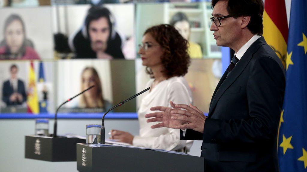 Montero e Illa en la rueda de prensa tras el Consejo de Ministros