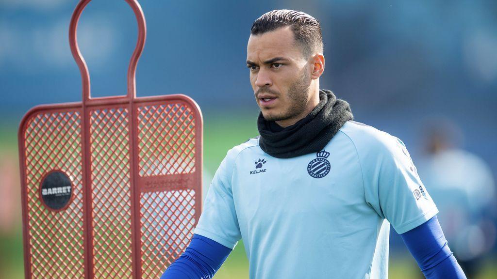Raúl de Tomás, en un entrenamiento con el Espanyol.
