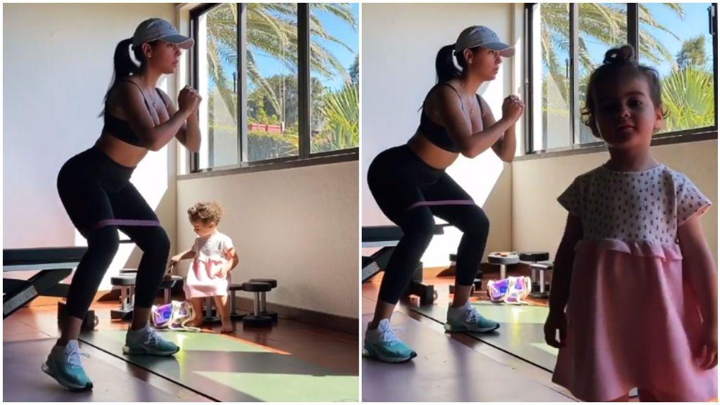 """La hija pequeña de Cristiano le coge el móvil a Georgina en pleno entrenamiento en casa: """"Alana, ¿qué has hecho?"""""""