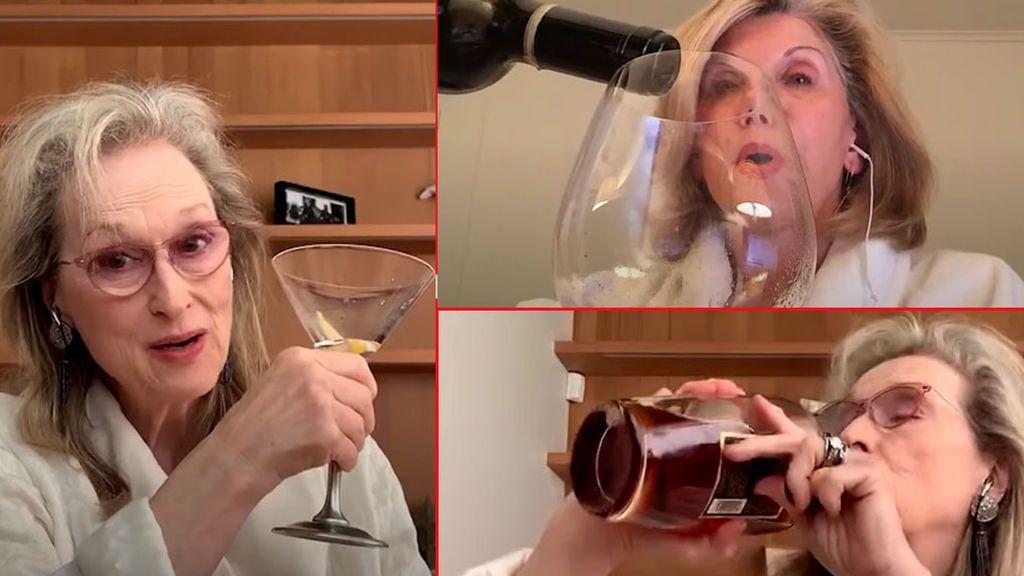 Meryl Streep y Christine Baranski, bebiendo en concierto streaming por videollamada