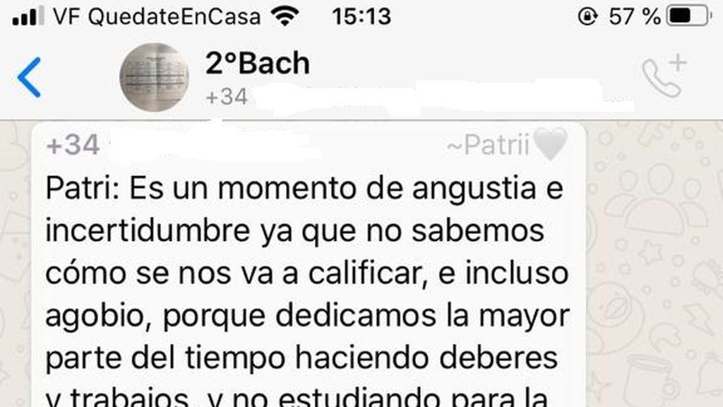 Extracto de la conversación en el grupo de whatsapp '2ºBach'