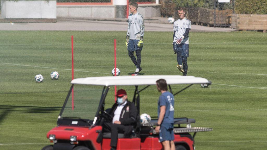 Los jugadores del Bayern en un entrenamiento.