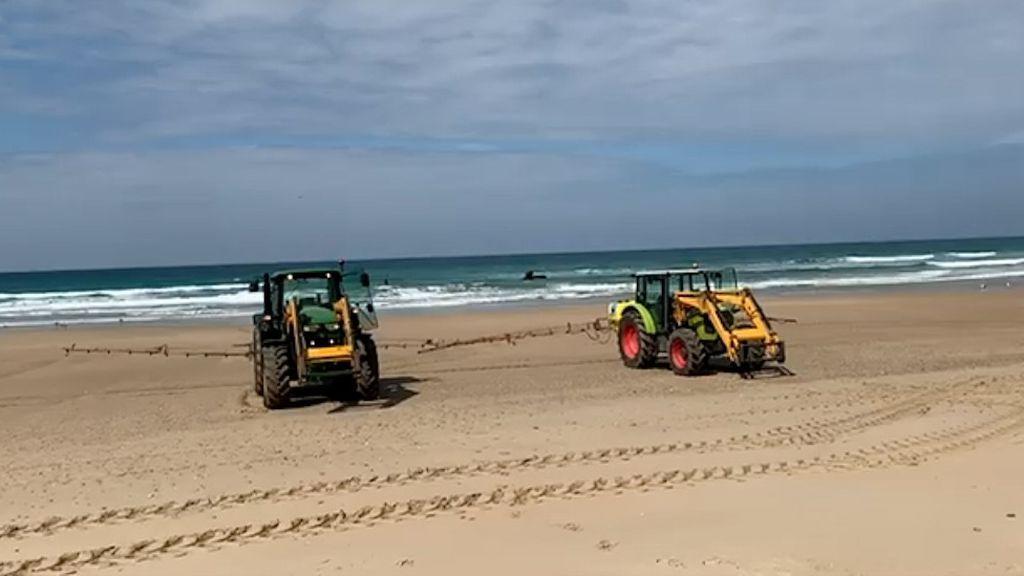 Los tractores de fumigación en la playa