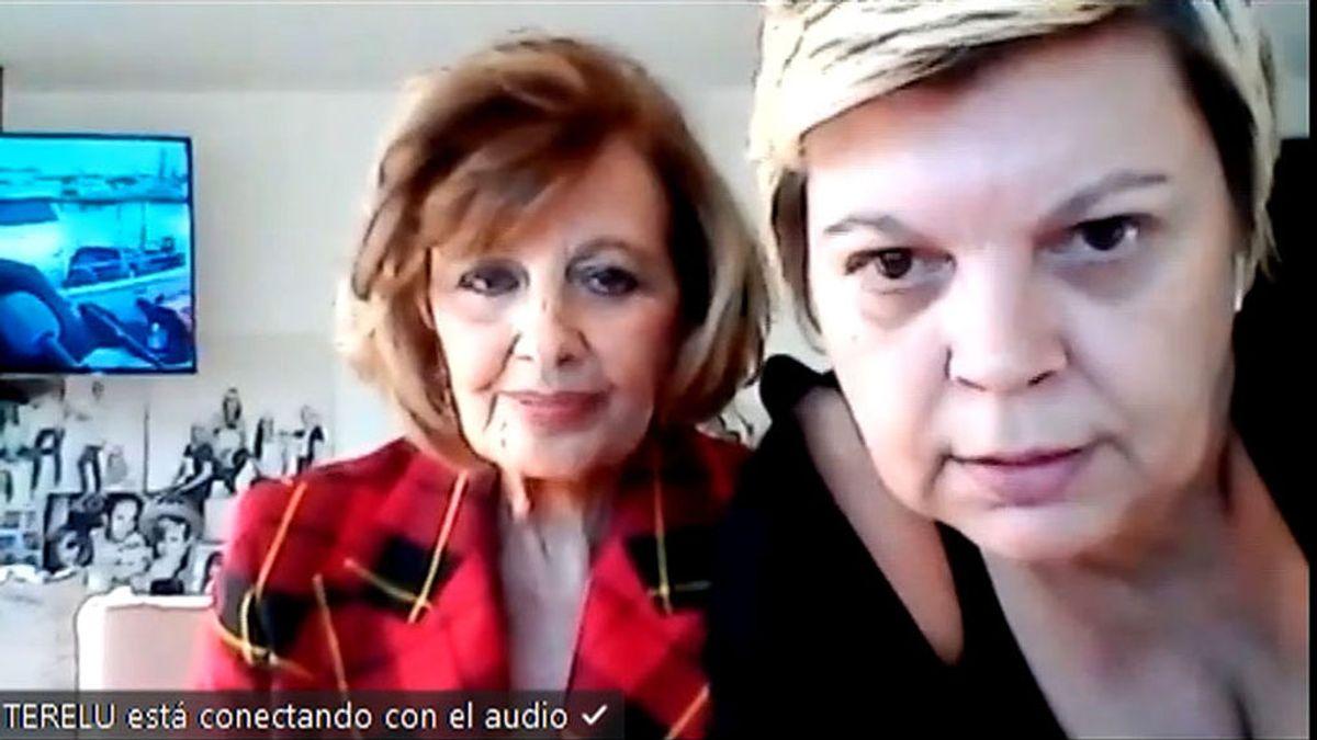 Terelu Campos ayuda a María Teresa Campos en la videollamada de Broncano