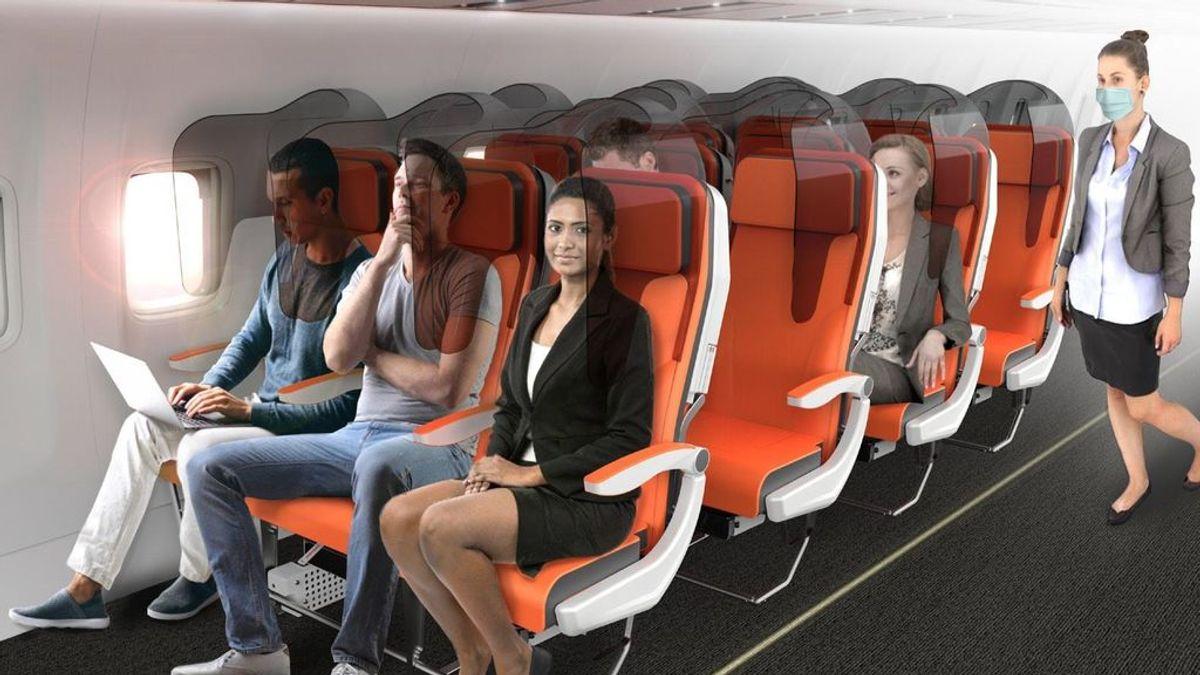 Una compañía italiana propone mamparas en los asientos de los aviones tras el COVID-19