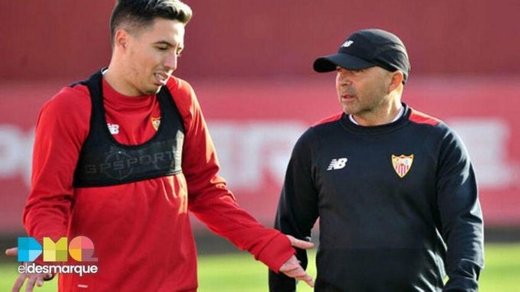 Samir Nasri y Jorge Sampaoli en el Sevilla