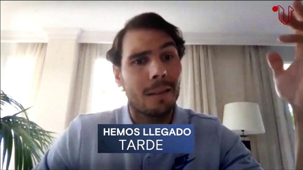 Rafa Nadal, en la videollamada con La Voz de Galicia.