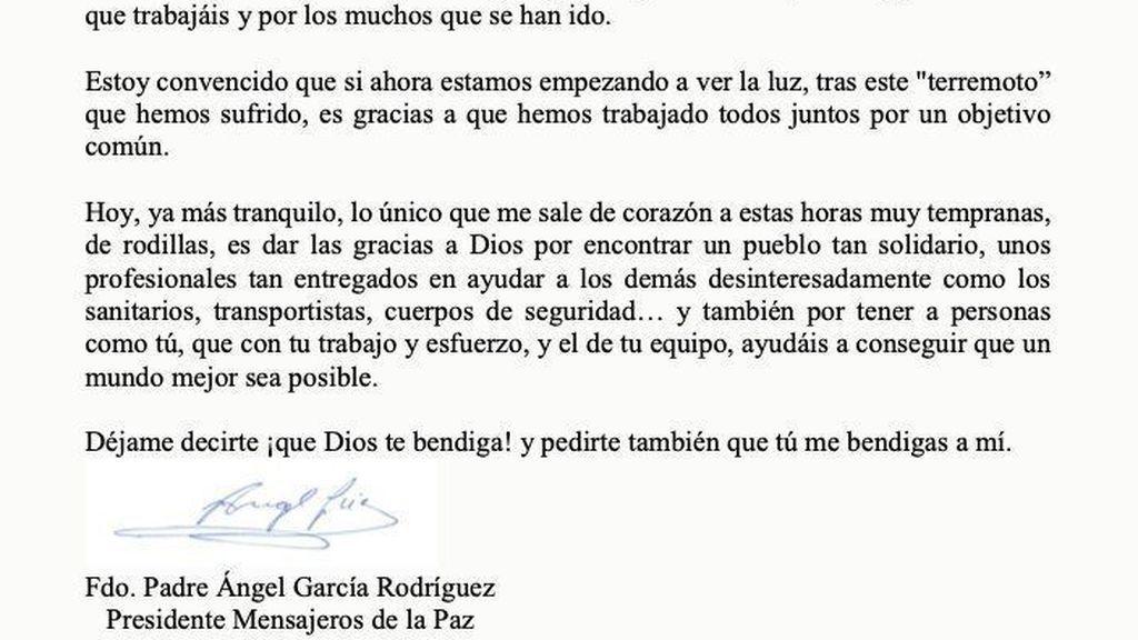Carta del Padre Ángel a Pablo Iglesias