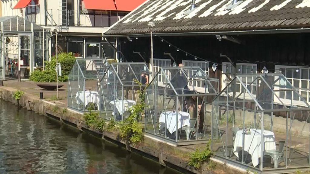 Pequeños invernaderos como comedores privados en un restaurante de Holanda para prevenir el coronavirus